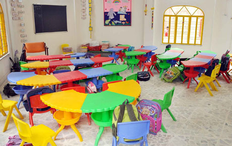 kids at classroom table. kids school furniture at classroom table a